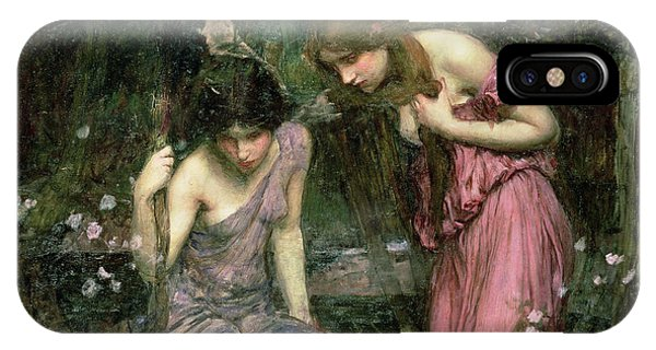 Pre-modern iPhone Case - Study For Nymphs Finding The Head Of Orpheus, C.1900 Oil On Canvas by John William Waterhouse