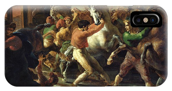 Struggle iPhone Case - Study For The Race Of The Barbarian Horses, 1817 Oil On Canvas by Theodore Gericault