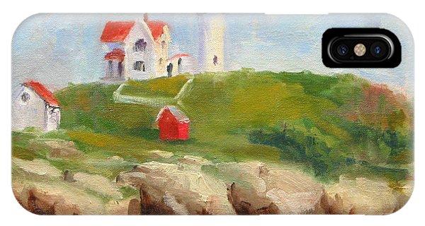 Cape Neddick Lighthouse iPhone Case - Study Of Nubble Light by Jason Walcott