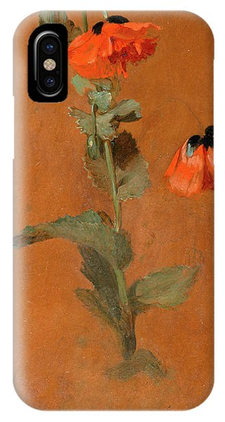 Godalming iPhone X Case - Study Of Poppies Signed And Dated In Graphite Or Charcoal by Litz Collection