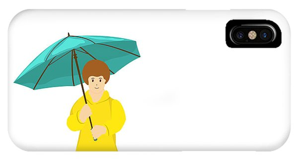 Happy iPhone Case - Stylish Girl Holding Green Umbrella On by Allies Interactive