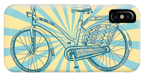 Beams iPhone Case - Stylish Hand Drawn Sketchy City Bike On by Shtonado