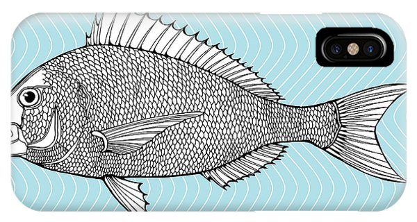 Ingredient iPhone Case - Stylized Fish. Sea Fish. Dorado. Black by In Art