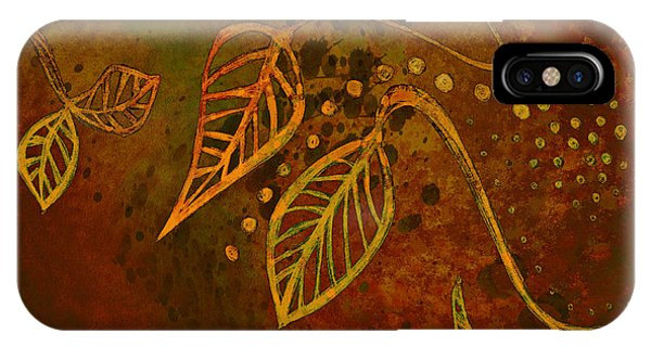 Leave iPhone Case - Stylized Leaves Abstract Art  by Ann Powell
