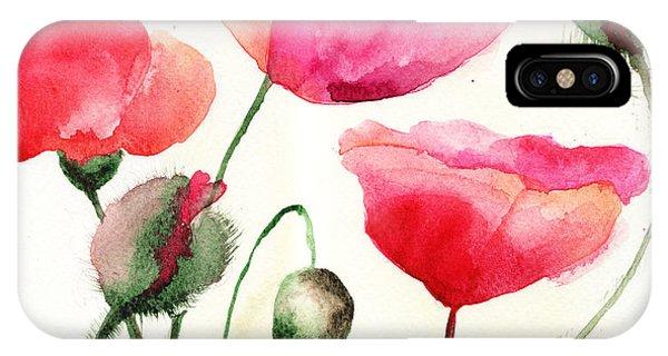 Stylized Poppy Flowers Illustration  IPhone Case
