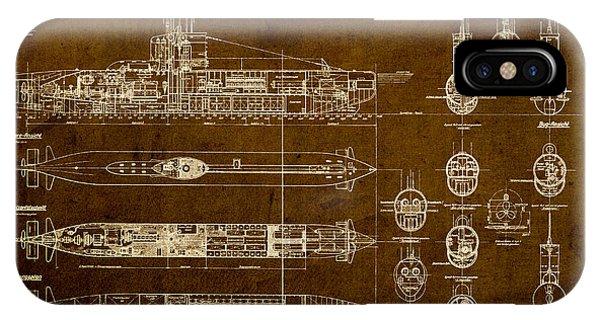 Submarine Blueprint Vintage On Distressed Worn Parchment IPhone Case
