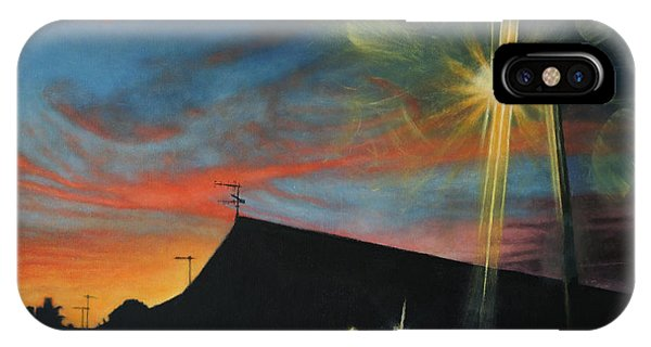 Suburban Sunset Oil On Canvas IPhone Case