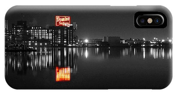 Sugar Glow - Classic Iconic Domino Sugars Neon Sign, Inner Harbor Baltimore, Maryland - Color Splash IPhone Case