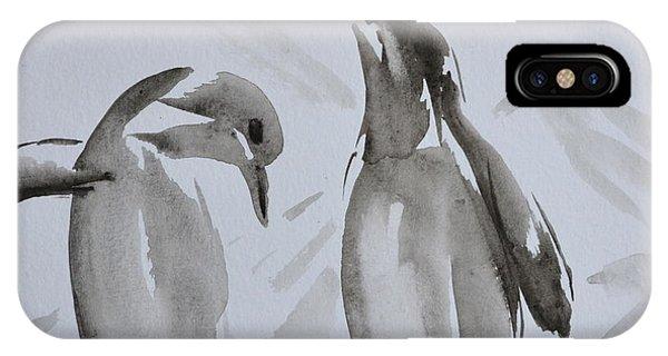 Sumi-e Penguin Dance IPhone Case