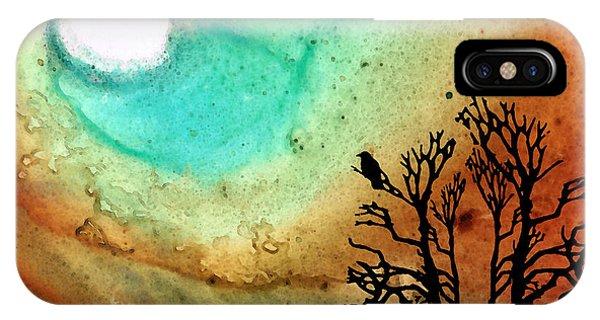 Barren iPhone Case - Summer Moon - Landscape Art By Sharon Cummings by Sharon Cummings