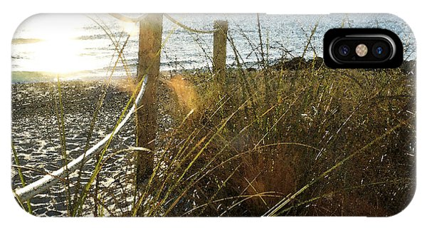 Sun Glared Grassy Beach Posts IPhone Case