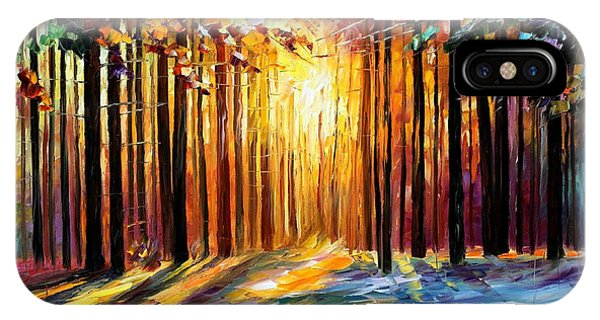 iPhone Case - Sun Of January - Palette Knife Landscape Forest Oil Painting On Canvas By Leonid Afremov by Leonid Afremov