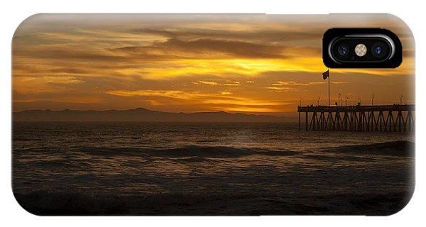Sun Setting Behind Santa Cruz With Ventura Pier 01-10-2010 IPhone Case