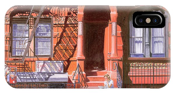 Brownstone iPhone Case - Sunday Afternoon East 7th Street Lower East Side Nyc by Anthony Butera