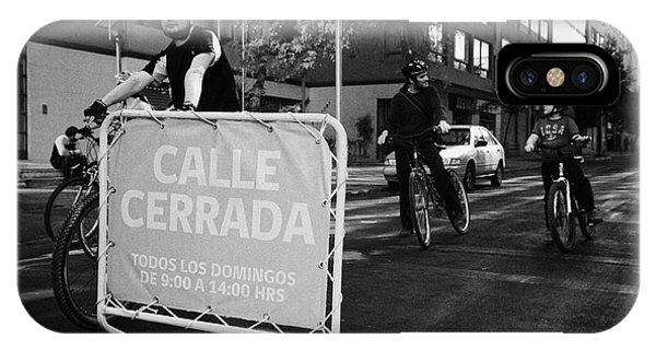 sunday morning roads closed for cyclists and walkers Santiago Chile Phone Case by Joe Fox