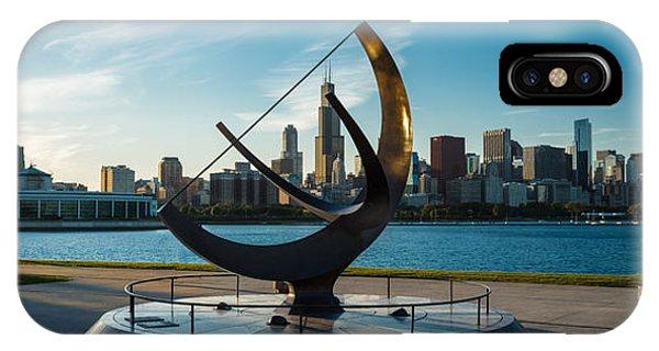Chicago Skyline Art iPhone Case - Sundial And Chicago Il by Steve Gadomski