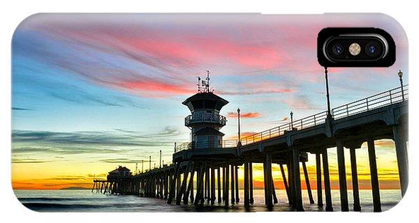 Sunet At Huntington Beach Pier IPhone Case