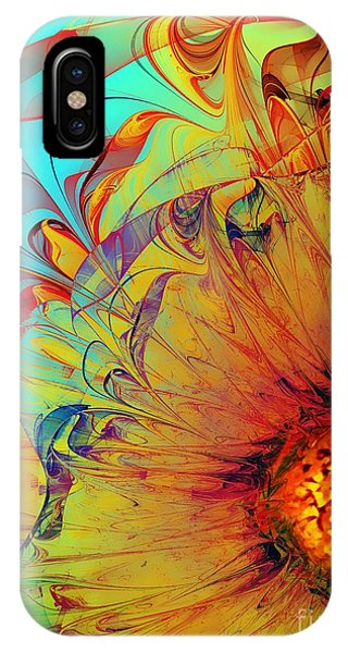 Sunflower iPhone Case - Sunflower Abstract by Klara Acel