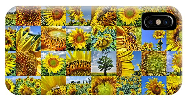 Sunflower Field Collage In Yellow IPhone Case