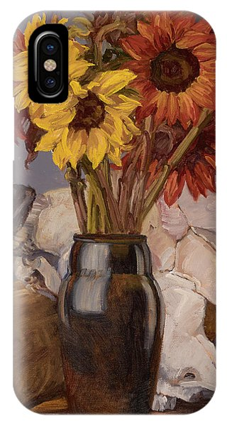 Sunflowers And Buffalo Skull IPhone Case