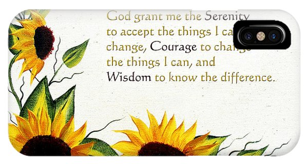 Barbara iPhone Case - Sunflowers And Serenity Prayer by Barbara Griffin