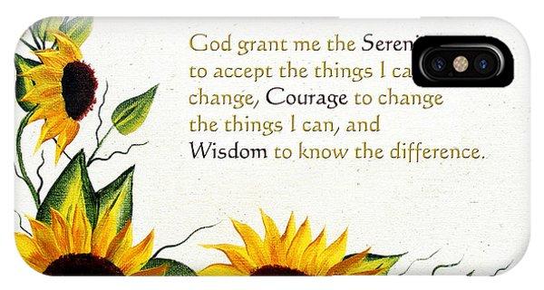 Sunflowers And Serenity Prayer IPhone Case