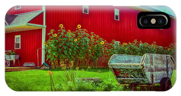 Sunflowers Beside A Big Red Barn IPhone Case