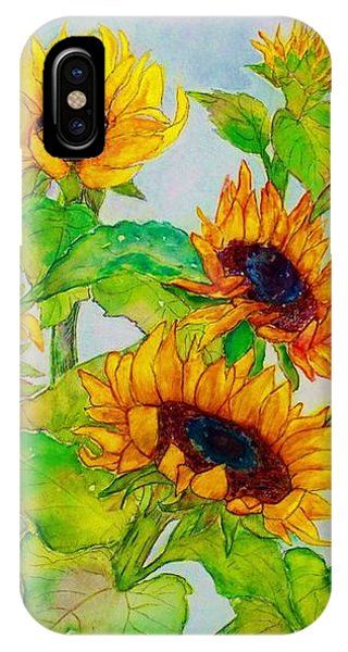 Sunflowers In A Field IPhone Case
