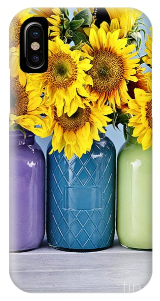 Sunflowers In Painted Mason Jars IPhone Case