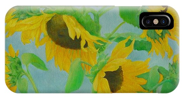 Sunflowers In The Wind 2 Phone Case by K Joann Russell