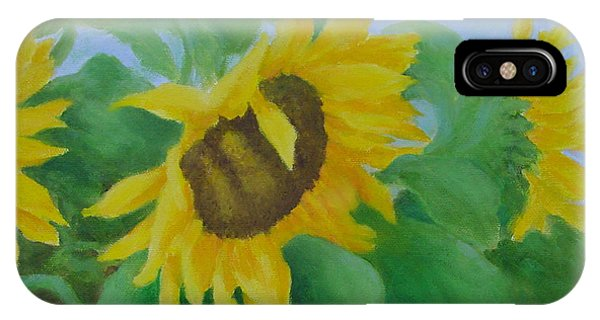 Sunflowers In The Wind Colorful Original Sunflower Art Oil Painting Artist K Joann Russell           IPhone Case