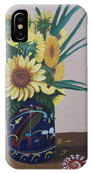 Sunflowers In Vase With Seashell IPhone Case