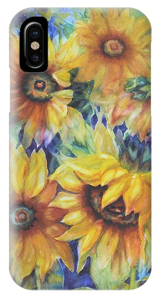 Sunflowers On Blue I IPhone Case