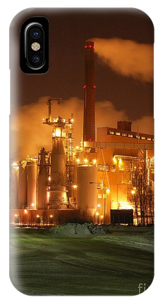 Sunila Pulp Mill By Winter Night IPhone Case