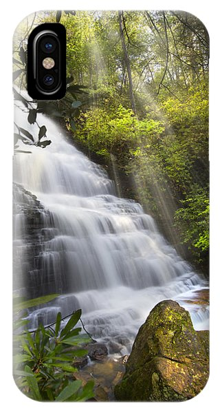 Chilhowee iPhone Case - Sunlight On The Falls by Debra and Dave Vanderlaan