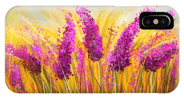 Violet iPhone Case - Sunny Lavender Field - Impressionist by Lourry Legarde