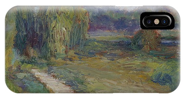 Sunny Morning In The Park -wetlands - Original - Textural Palette Knife Painting IPhone Case