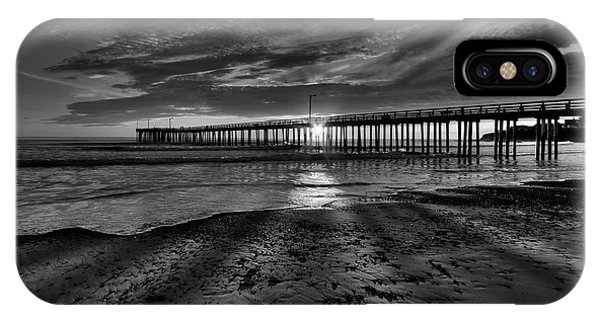 Sunrays Through The Pier In Black And White IPhone Case