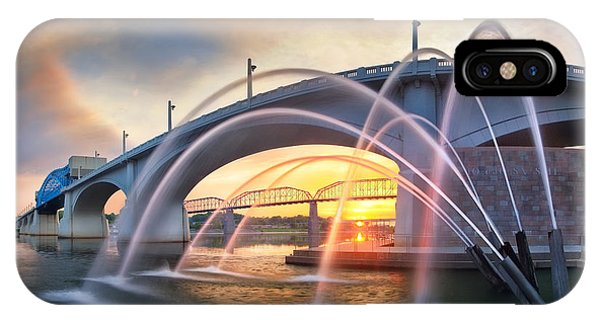 Sunrise At John Ross Landing Fountain IPhone Case