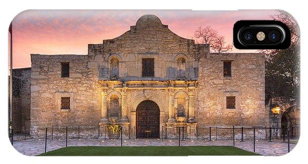 Texas iPhone Case - Sunrise At The Alamo San Antonio Texas 1 by Rob Greebon