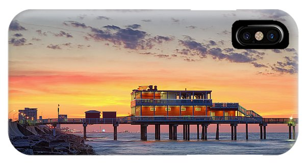 Long Beach Island iPhone Case - Sunrise At The Pier - Galveston Texas Gulf Coast by Silvio Ligutti