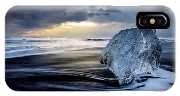 Black Sand iPhone Case - Sunrise Between Ice by Rodrigo N??ez Buj