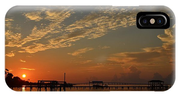 Sunrise Colors With Storms Building On Sound IPhone Case