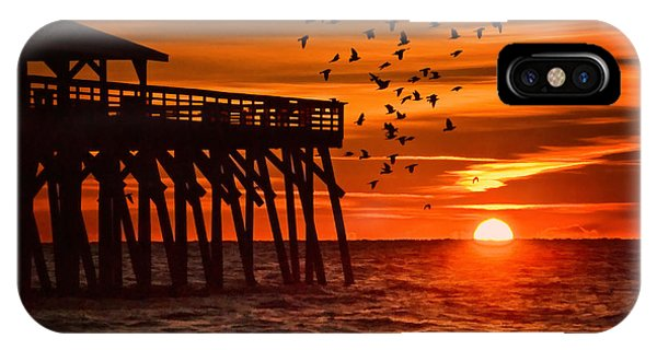 Sunrise In Myrtle Beach With Birds Flying Around The Pier IPhone Case