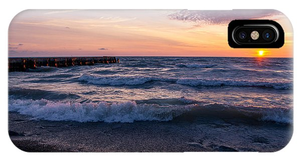 Sunrise Lake Michigan August 8th 2013 Wave Crash IPhone Case