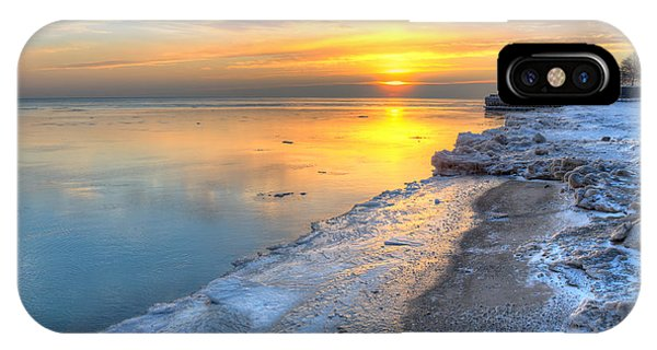 Sunrise North Of Chicago Lake Michigan 1-4-14 003 Phone Case by Michael  Bennett
