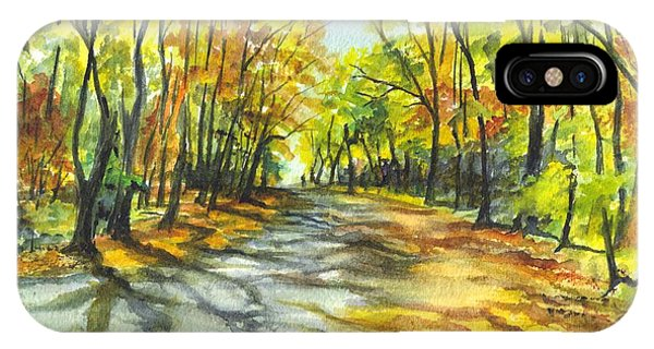 Sunrise On A Shady Autumn Lane IPhone Case