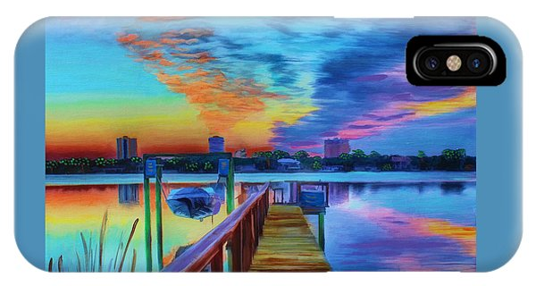 IPhone Case featuring the painting Sunrise On The Dock by Deborah Boyd
