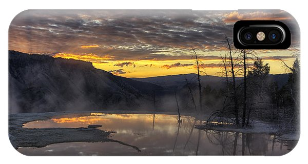 Yellowstone National Park iPhone Case - Sunrise On The Terrace by Mark Kiver