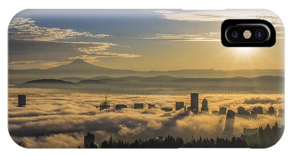 Sunrise Over Foggy Portland IPhone Case